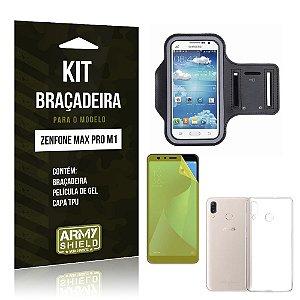 Kit Braçadeira Zenfone Max Pro M1 ZB602KL Braçadeira + Película + Capa - Armyshield