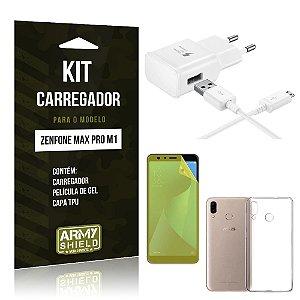 Kit Carregador Zenfone Max Pro M1 ZB602KL Carregador + Película + Capa - Armyshield