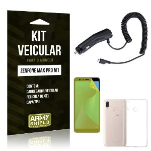 Kit Carregador Veicular Zenfone Max Pro M1 ZB602KL Carregador + Película + Capa - Armyshield
