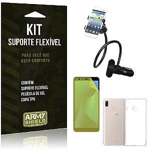 Kit Suporte Flexível Zenfone Max Pro M1 ZB602KL Suporte + Película + Capa - Armyshield