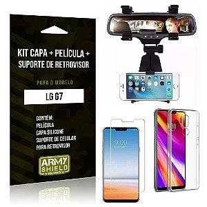 Kit LG G7 Capa Silicone + Película de Vidro + Suporte Retrovisor - Armyshield