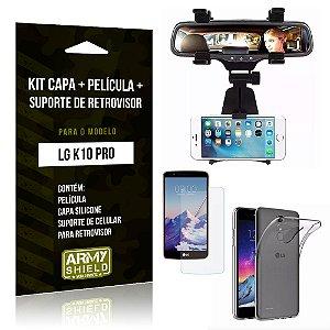Kit LG K10 Pro Capa Silicone + Película de Vidro + Suporte Retrovisor - Armyshield