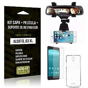 Kit Alcatel A3 XL Capa Silicone + Película de Vidro + Suporte Retrovisor - Armyshield