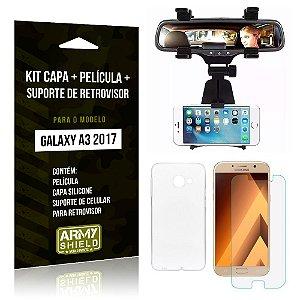 Kit Galaxy A3 (2017) Capa Silicone + Película de Vidro + Suporte Retrovisor - Armyshield