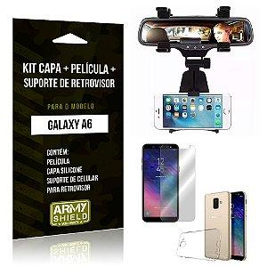 Kit Galaxy A6 Capa Silicone + Película de Vidro + Suporte Retrovisor - Armyshield