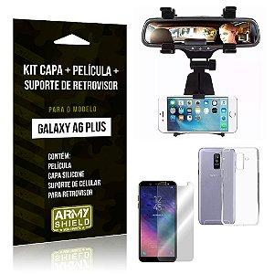 Kit Galaxy A6 Plus Capa Silicone + Película de Vidro + Suporte Retrovisor - Armyshield