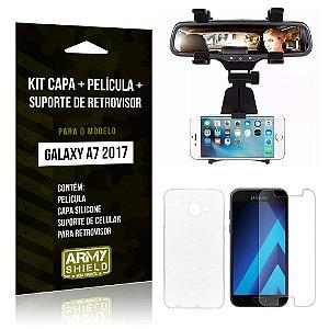 Kit Galaxy A7 (2017) Capa Silicone + Película de Vidro + Suporte Retrovisor - Armyshield