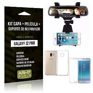 Kit Galaxy J2 Pro 2018 Capa Silicone + Película de Vidro + Suporte Retrovisor - Armyshield