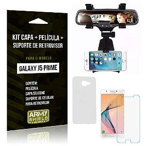 Kit Galaxy J5 Prime Capa Silicone + Película de Vidro + Suporte Retrovisor - Armyshield