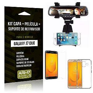 Kit Galaxy J7 Duo (2018) Capa Silicone + Película de Vidro + Suporte Retrovisor - Armyshield