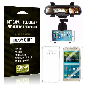 Kit Galaxy J7 Neo (2017) Capa Silicone + Película de Vidro + Suporte Retrovisor - Armyshield