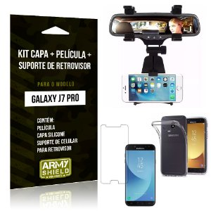 Kit Galaxy J7 Pro (2017) Capa Silicone + Película de Vidro + Suporte Retrovisor - Armyshield