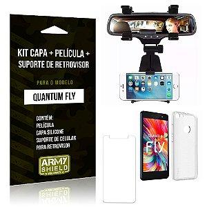 Kit Quantum Fly Capa Silicone + Película de Vidro + Suporte Retrovisor - Armyshield