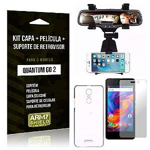 Kit Quantum Go 2 Capa Silicone + Película de Vidro + Suporte Retrovisor - Armyshield