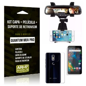 Kit Quantum Muv Pro Capa Silicone + Película de Vidro + Suporte Retrovisor - Armyshield