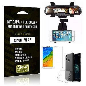 Kit Xiaomi Mi A2 Capa Silicone + Película de Vidro + Suporte Retrovisor - Armyshield