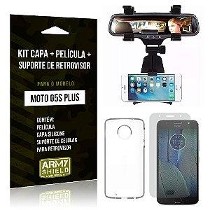 Kit Moto G5S Plus Capa Silicone + Película de Vidro + Suporte Retrovisor - Armyshield