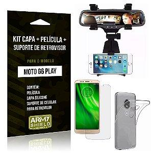 Kit Moto G6 Play Capa Silicone + Película de Vidro + Suporte Retrovisor - Armyshield