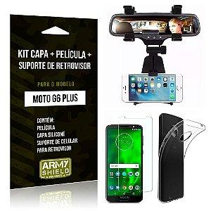 Kit Moto G6 Plus Capa Silicone + Película de Vidro + Suporte Retrovisor - Armyshield