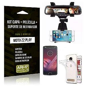 Kit Moto Z 2 Play Capa Silicone + Película de Vidro + Suporte Retrovisor - Armyshield