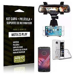 Kit Moto Z 3 Play Capa Silicone + Película de Vidro + Suporte Retrovisor - Armyshield