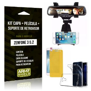 Kit Zenfone 3 - 5.2' ZE520KL Capa Silicone + Película Gel + Suporte Retrovisor - Armyshield