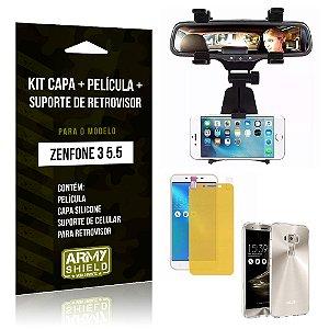 Kit Zenfone 3 - 5.5' ZE552KL Capa Silicone + Película Gel + Suporte Retrovisor - Armyshield