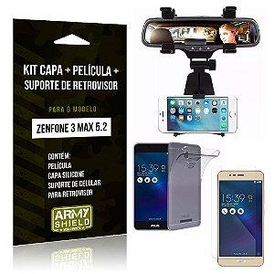 Kit Zenfone 3 Max - 5.2' ZC520TL Capa Silicone + Película Gel + Suporte Retrovisor - Armyshield