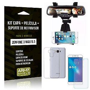 Kit Zenfone 3 Max - 5.5' ZC553KL Capa Silicone + Película Gel + Suporte Retrovisor - Armyshield