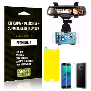 Kit Zenfone 4 - 5.5' ZE554KL Capa Silicone + Película Gel + Suporte Retrovisor - Armyshield