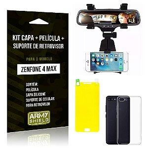 Kit Zenfone 4 Max - 5.5' ZC554KL Capa Silicone + Película Gel + Suporte Retrovisor - Armyshield