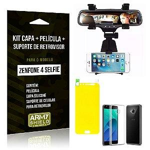 Kit Zenfone 4 Selfie - 5.5' ZD553KL Capa Silicone + Película Gel + Suporte Retrovisor - Armyshield