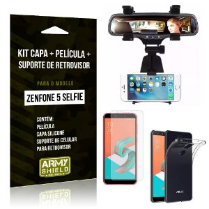Kit Zenfone 5 Selfie ZC600KL Capa Silicone + Película Gel + Suporte Retrovisor - Armyshield