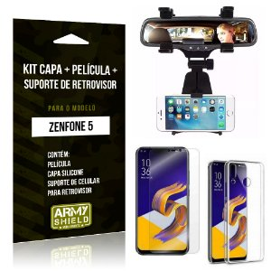 Kit Zenfone 5 ZE620KL Capa Silicone + Película Gel + Suporte Retrovisor - Armyshield