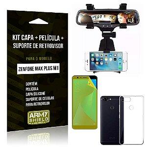 Kit Zenfone Max Plus M1 ZB570TL Capa Silicone + Película Gel + Suporte Retrovisor - Armyshield