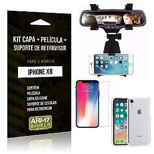 Kit iPhone XR Capa Silicone + Película de Vidro + Suporte Retrovisor - Armyshield