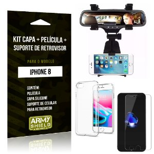 Kit iPhone 8 Capa Silicone + Película de Vidro + Suporte Retrovisor - Armyshield
