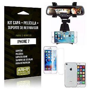 Kit iPhone 7 Capa Silicone + Película de Vidro + Suporte Retrovisor - Armyshield