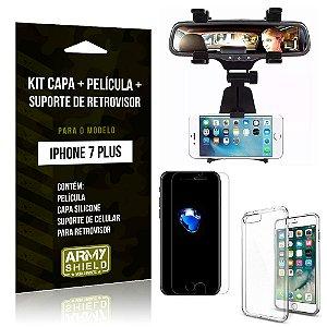 Kit iPhone 7 Plus Capa Silicone + Película de Vidro + Suporte Retrovisor - Armyshield
