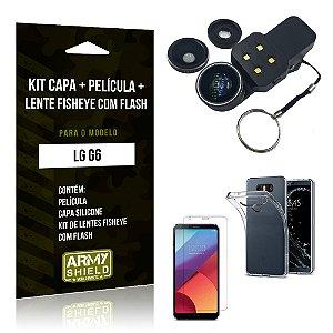 Kit LG G6 Capa Silicone + Película de Vidro + Fisheye com Flash - Armyshield