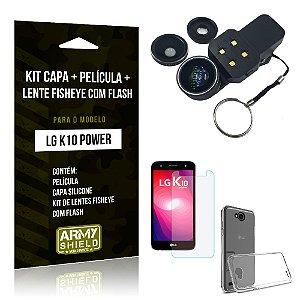 Kit LG K10 Power Capa Silicone + Película de Vidro + Fisheye com Flash - Armyshield