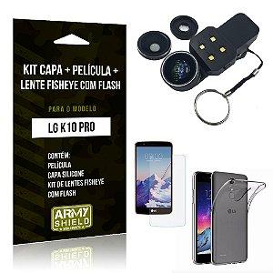 Kit LG K10 Pro Capa Silicone + Película de Vidro + Fisheye com Flash - Armyshield