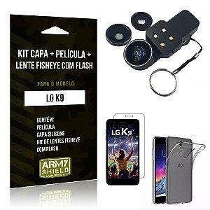 Kit LG K9 Capa Silicone + Película de Vidro + Fisheye com Flash - Armyshield