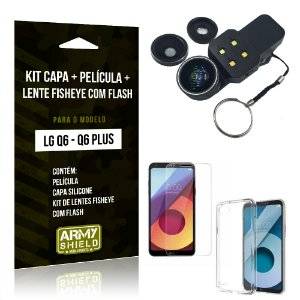 Kit LG Q6 - Q6 Plus Capa Silicone + Película de Vidro + Fisheye com Flash - Armyshield