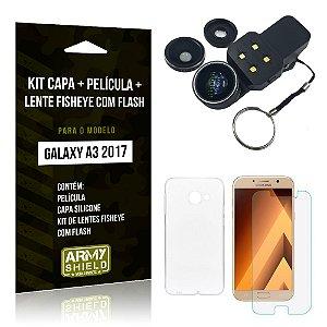 Kit Galaxy A3 (2017) Capa Silicone + Película de Vidro + Fisheye com Flash - Armyshield