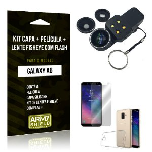 Kit Galaxy A6 Capa Silicone + Película de Vidro + Fisheye com Flash - Armyshield