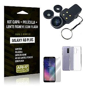 Kit Galaxy A6 Plus Capa Silicone + Película de Vidro + Fisheye com Flash - Armyshield