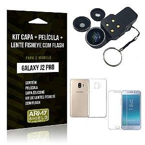 Kit Galaxy J2 Pro 2018 Capa Silicone + Película de Vidro + Fisheye com Flash - Armyshield