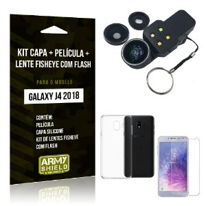 Kit Galaxy J4 (2018) Capa Silicone + Película de Vidro + Fisheye com Flash - Armyshield