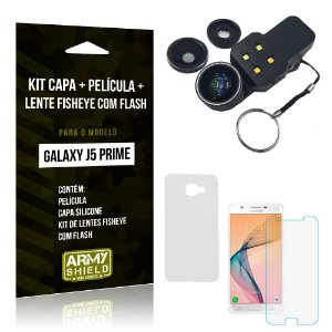 Kit Galaxy J5 Prime Capa Silicone + Película de Vidro + Fisheye com Flash - Armyshield
